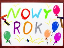 Drawing: Polish words NEW YEAR Stock Images