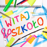Drawing of the Polish words `Welcome back to school` Royalty Free Stock Images