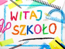Drawing of the Polish words :Welcome back to school Stock Photography