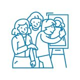 Drawing a portrait linear icon concept. Drawing a portrait line vector sign, symbol, illustration. vector illustration