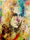 Drawing portrait Young woman with ornament on face, color painting on abstract background, computer collage. Stock Photos