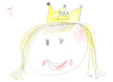 Drawing princess by a Child Royalty Free Stock Images