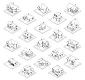 Drawing of private house set. 3d drawing of private house, vector illustration set for coloring book Stock Images