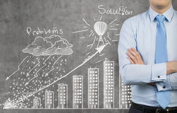 Drawing problem and solution. Businessman and drawing problem and solution concept Stock Photos