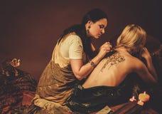 Drawing process of henna menhdi ornament royalty free stock photo
