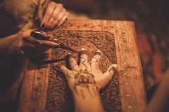 Drawing process of henna menhdi ornament Royalty Free Stock Photography
