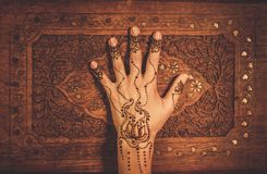 Drawing process of henna menhdi ornament Stock Photos