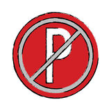 Drawing prohibited parking car sign traffic Royalty Free Stock Image