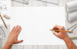 Drawing project on blank white paper. Stock Image