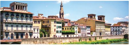 Drawing of the promenade of Florence. Panorama. royalty free illustration