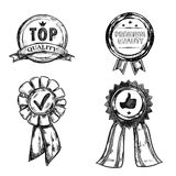 Drawing Quality Medal Emblem Set. With top quality and premium quality descriptions vector illustration Stock Photos