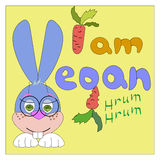 Drawing rabbit with text I vegan. On a yellow background Stock Image