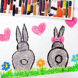 drawing: rabbits in love Stock Images