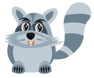 Drawing of the racoon on white background Stock Photo