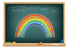Drawing rainbow by a chalk Stock Photo