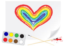 Drawing rainbow heart Stock Images