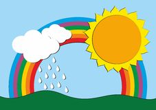 Drawing with a rainbow. Royalty Free Stock Images