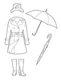 Drawing rainwear. Set of clothes for women Royalty Free Illustration