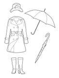 Drawing rainwear Royalty Free Stock Image
