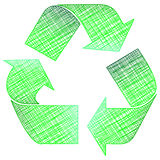 Drawing recycling symbol Royalty Free Stock Photos