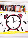 Drawing: Red Alarm Clock Stock Image