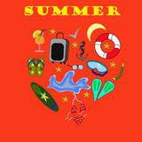 Drawing on a red background heart summer. Items for a cruise royalty free illustration