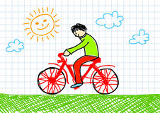 Drawing of red bicycle Royalty Free Stock Image