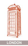 Drawing of Red Booth. Detail Drawing of Classic London Red Telephone Booth Stock Images