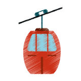 drawing red cable car transport image Royalty Free Stock Image