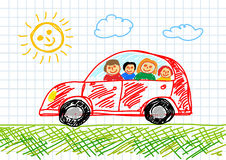 Drawing of red car Stock Image