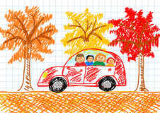 Drawing of red car Royalty Free Stock Photos