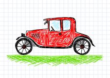 Drawing of red car Royalty Free Stock Images