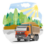 Drawing red dump truck sand. Vector illustration Stock Photography
