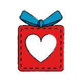 Drawing red gift box heart love present. Vector illustration eps 10 Stock Photos