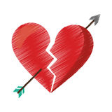 Drawing red heart broken sad separation Stock Photography
