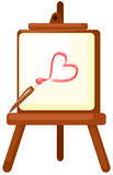Drawing a red heart on easel Royalty Free Stock Image