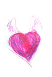 Drawing of red heart with wings. By pastel Stock Photos