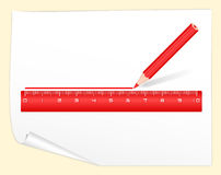 Drawing red line pencil rule. Drawing tool Royalty Free Stock Images