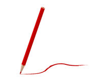 Drawing with red pencil Royalty Free Stock Photos
