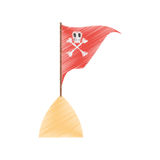 Drawing red pirate flag with skull bone sand sea Royalty Free Stock Photo