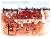 Drawing red roof of Prague landscape watercolor illustration Royalty Free Stock Images