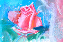 Drawing of red rose. By pastel stock photos