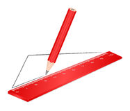 Drawing red ruler pencil Royalty Free Stock Photo