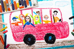 Drawing - red school bus with happy children inside