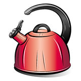 Drawing of the red teapot kettle Stock Photography