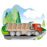 Drawing red tipper dump truck in summer background Royalty Free Stock Photo