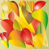 Drawing of red, yellow and green leaves stock illustration