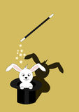 Drawing representing a magic show. Wow a rabbit Stock Image