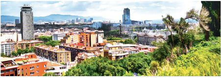 Drawing review of the new Barcelona. Panorama. stock illustration