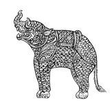 Drawing of rhinoceros,Thai traditional art Stock Image